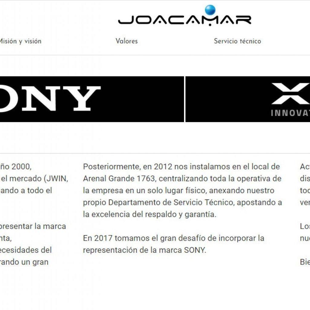 Joacamar, importador para Uruguay de SONY y XION.